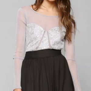 UO KIMCHI BLUE Limelight Lilac Sheer Lace Crop Top